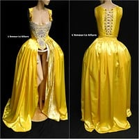 Belle Yellow Rhinestone Medieval Renaissance Ball Gown Dress Skirt with Corset and Bone skirt