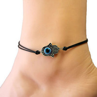 the hand of hamsa anklet,evil eye anklet,navy anklet,silver charm anklet,black wax cord,summer trending,lucky jewelry,personalized gift