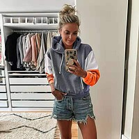 Colorblock Pullover Drawstring Patchwork Hoodie