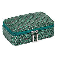 Green Diamond Pattern Zip Around Jewelry Case Available In Green/Red - Perfect Gift Jewelry-boxes: Green