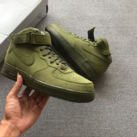 Nike Air Force 1 Mid Olive Green For Women Men Running Sport Casual Shoes Sneakers
