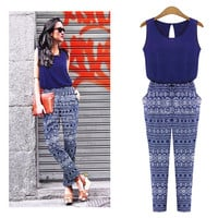 Navy Tribal Print Jumpsuit