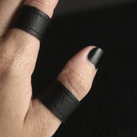 Handmade Faux Leather Ring, Black