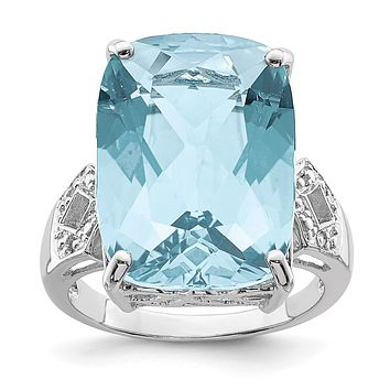 Sterling Silver Rhodium Sky Blue Topaz & Natural Diamond Gemstone Birthstone Ring Fine Jewelry Gift for Her