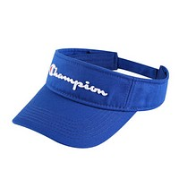 Champion Fashion New Embroidery Letter Sun Protection Hollow Women Men Cap Hat Blue