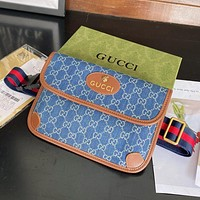 Denim embroidery letter stitching G color men's and women's belt bag