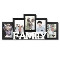 Adeco PF0435 5-Opening Black Wooden Wall Hanging Collage Picture Photo Hanging Frame - Holds 4x6 Inches Photos, Home Decor Wall Art
