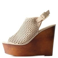 Nude Bamboo Perforated Slingback Wooden Wedges