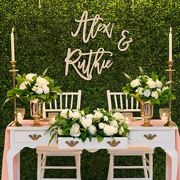 Bride & Groom Name Backdrop Sign 3pc Set, Acrylic or Wood