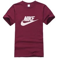 NIKE Popular Women Men Casual Print Round Collar T-Shirt Top Burgundy