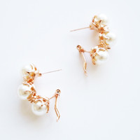 18K Rose Gold Plated 3 pearls earrings