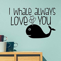 I whale always love you ocean cute hearts playroom sticker nursery vinyl saying lettering wall art inspirational sign wall quote decor