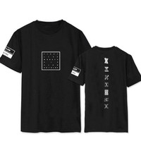 Kpop monsta x concert same printing o neck short sleeve t shirt for fans supportive summer tee plus size o neck t-shirt