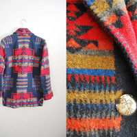 Vintage Womens 90s Aztec Indian Blanket Southwest Print Wool Coat Jacket