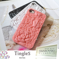 Beautiful 3D Design Victorian Rose Sculpture Hard Case Dust Stopper iPhone 4S Made with Swarovski Crystal Diamond