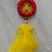 Red and Yellow Mini Dream Catcher With Carnelian Gemstone, Dream Catcher Handbag Charm, Car Accessories