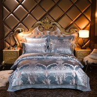 Jacquard Bedding Set Luxury Satin Bed Set 4pcs Embroidered Duvet/Quilt Cover Bed Sheet Linen Pillowcases Queen King Size