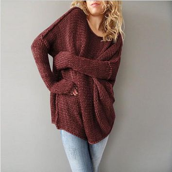 Crew Neck Loose Long Batwing Sleeves Oversized Women Pullover Sweater