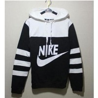 NIKE Women Men Pantsuit splicing Two piece Logo hooded fashion suit pullover