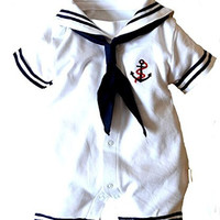 Meihuida Baby Boy Girl Anchor Sailor White Props Romper&Hat Outfit