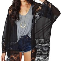 Genluna Woman Sheer Tassel Chiffon Loose Boho Sleeve Cardigan Kimono Blouse Coat [B66159],Small,Black