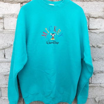 Vintage Sweatshirt Teal Green Mickey Mouse Walt Disney sz Large 1990s 80s