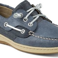 Sperry Top-Sider Ivyfish Metallic Linen 3-Eye Boat Shoe Navy/Silver, Size 9.5M  Women's Shoes