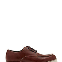 Faux Leather Oxfords Brown