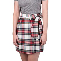 Plaid Wrap Skirt in Ivory by Lauren James