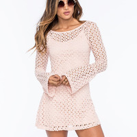 Mimi Chica Crochet Swing Dress Blush  In Sizes