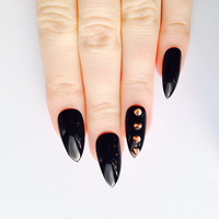 Rose Gold Spike Stiletto nails, Nail designs, Nail art, Nails, Stiletto nails, Acrylic nails, Pointy nails, Fake nails