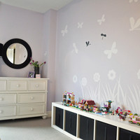 Butterfly, Flower and Dragonfly Garden silhouette Wall Decal