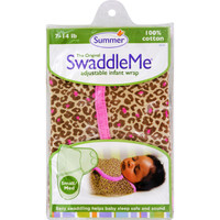 Summer Infant Swaddleme Adjustable Infant Wrap - Small-medium 7 - 14 Lbs - Leopard