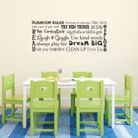 Play Room Rules Wall Decal - Children Wall Decal Art - Horizontal Medium