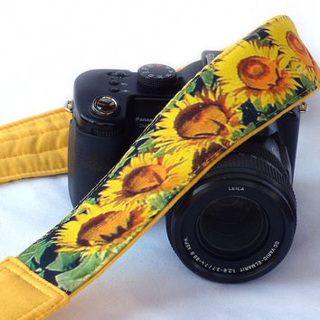 Sunflowers Camera Strap. Yellow DSLR Camera Strap. Nikon Canon Camera Strap. Padded Camera Strap. Gift For Her. Camera Accessory. Etsy Gifts