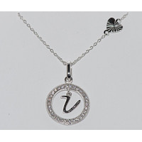 """Sterling Silver Floating Letter V CZ Circle Initial 17"""" Necklace Cubic Zirconia"""