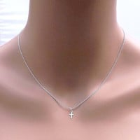 Tiny STERLING SILVER CROSS necklace-Bridesmaid,bestfriend,Wife,Girlfriend, Mothers Gift--simple everyday jewelry