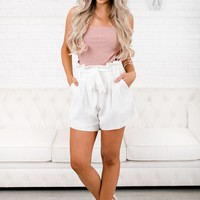 Catrina High Waisted Shorts (White)