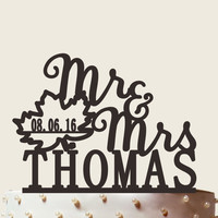 Mr and Mrs cake topper fall leaf with date fall wedding cake topper, Custom Wedding Cake Topper CT030