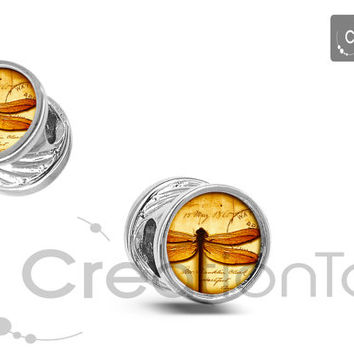 Charm for any Pandora bracelet Dragonfly in amber charm Outlander has double sides