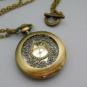 Pocket Watch Necklace With Antique Style by pinkingedgedesigns