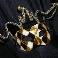 Black, Cream and Gold Jester Mask with Harlequin Design