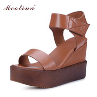 Meotina Genuine Leather Shoes Platform Sandals Wedge Heels Shoes Women Natural Real Leather Sandals Ladies Sandals Size 34-39