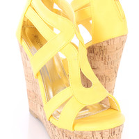 Yellow Strappy Cork Platform Wedges Nubuck