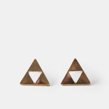 Mantra Triangle Earrings - $11.00 : ThreadSence, Women's Indie & Bohemian Clothing, Dresses, & Accessories