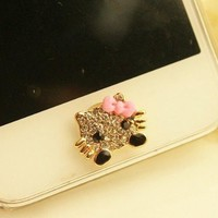 eBADA(TM) Cute Hello Kitty Lovely Bling Crystal Rhinestone Iphone 5 iphone 4 4s Home Return Keys Buttons Sticker For iPhone 4S iPhone 5 iPod Touch iPad Repair Fix Replace Replacement