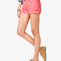 Life In Progress™ Button Tab Colored Denim Shorts   FOREVER 21 - 2000042929