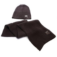"""Louis Vuitton"" LV Popular Women Winter Knit Warmer Hat Cap Scarf Set Coffee"