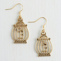ModCloth Bird This Day and Cage Earrings