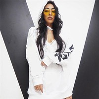 Letter Print Loose Fashion Button V-Neck Hooded Long Sleeve Middle Long Section Sweater Tops